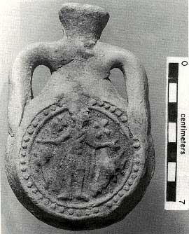 Ampule depicting St. Menas (Caesarea--Caesarea was a maritime city with an elaborate harbor. Later it also became the provincial capital of Judaea/ Palaestina)