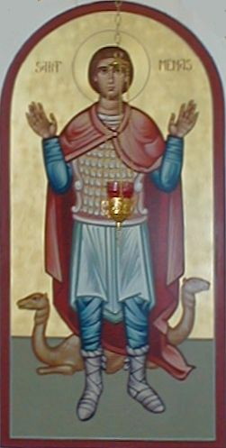 Icon  of St. Menas, the Egyptian Soldier in the Roman Army, at St. Mary Orthodox (not Coptic) Church Chambersburg, PA, USA (Source: icon  of St. Menas, the Egyptian Soldier in the Roman Army, at St. Mary Orthodox (not Coptic) Church Chambersburg, PA, USA <http://www.rdrop.com/users/stmary/>)